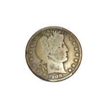 Rare 1908-D Barber Half Dollar Coin