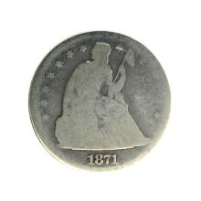 1871 Liberty Seated Silver Dollar Coin