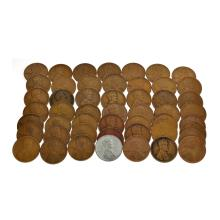 50 Assorted 1909 - 1958 Wheat Pennies Coin