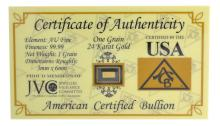 One Grain .9999 Fine 24 Karat Gold American Certified Bullion Bar