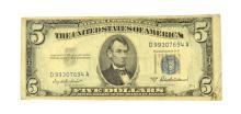 1953 $5 Blue Seal Silver Certificate