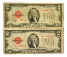 (2) 1928 $2 U.S. Red Seal Notes
