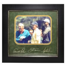 Rare Plate Signed Tiger Woods,Arnold  Palmar, And Jack Nicklaus  Photo Great Memorabilia  -PNR-