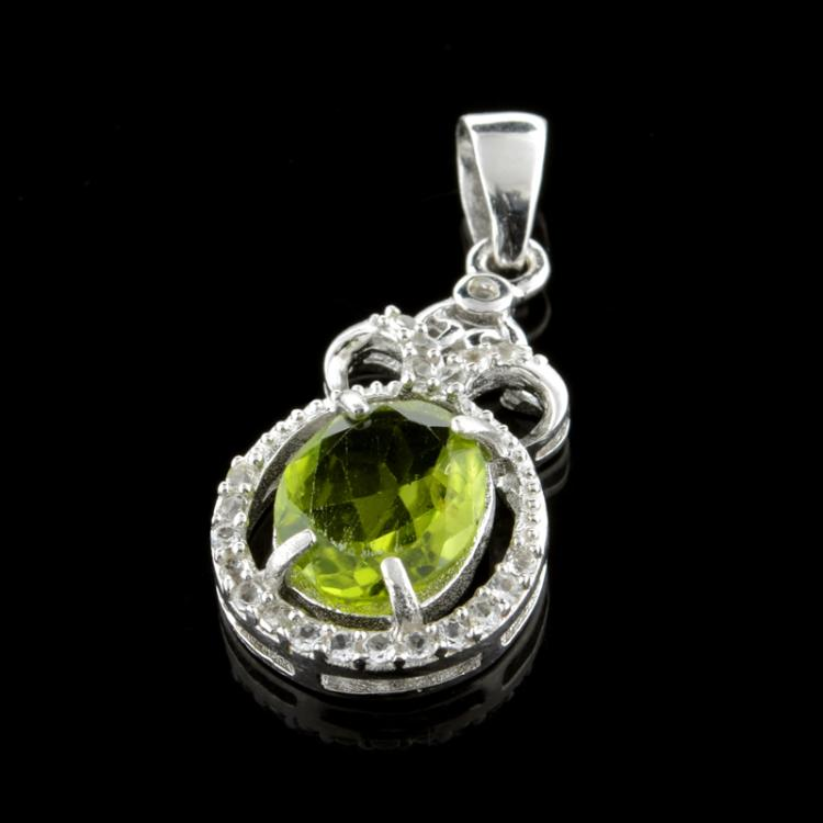 APP 1 1k Fine Jewelry 4 90CT Green Peridot And Colorless To