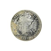 1786 Extremely Rare Eight Reales American First Silver Dollar Coin