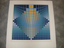 Victor Vasarely Serigraphs #135/250 Paper Size 30 x 32 (Mat Burn From Pervious Framing, But Images Are Perfect)