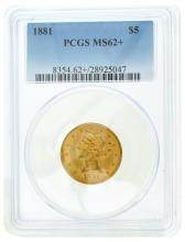 *1881 $5 U.S. PCGS MS62+ Liberty Gold Coin (DF)