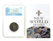 Extremely Rare Museum 1711D 30D French Colonies Genuine New World Hoard NGC Coin