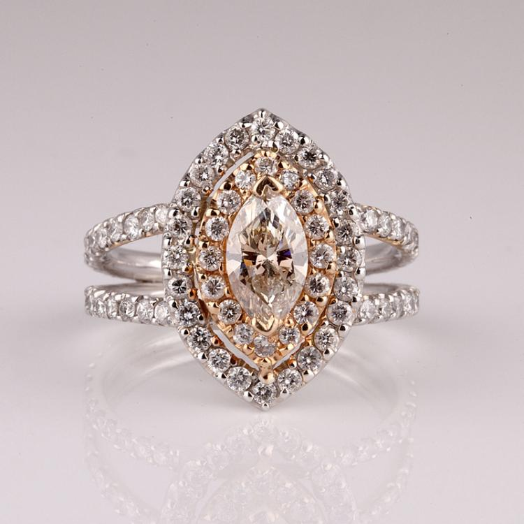 APP 19 5k 14 kt White Rose Gold 1 75CT Diamond Ring NG