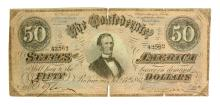 Rare 1864 $50 Confederate Note