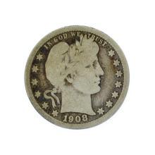 Rare 1908-D Barber Quarter Dollar Coin