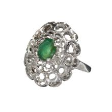 APP: 1.6k Fine Jewelry 0.60CT Oval Cut Green Beryl Emerald And Platinum Over Sterling Silver Ring