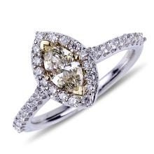 APP: 9.2k *14 kt. Two Tone Gold, 0.55CT Marquise Cut Diamond And 0.46CT Diamond Ring (NG R11093)