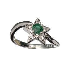 APP: 0.9k Fine Jewelry Designer Sebastian 0.20CT Green Beryl Emerald And Topaz Platinum Over Sterling Silver Ring