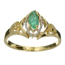 APP: 1.6k 14 kt. Yellow And White Gold, 0.25CT Marquise Cut Emerald Ring