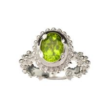 APP: 1.2k Fine Jewelry 1.50CT Oval Cut Green Peridot And Platinum Over Sterling Silver Ring