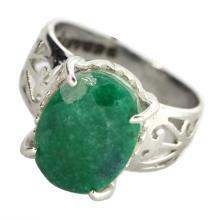APP: 3.3k Fine Jewelry Designer Sebastian 4.69CT Oval Cut Emerald Platinum Over Sterling Silver Ring