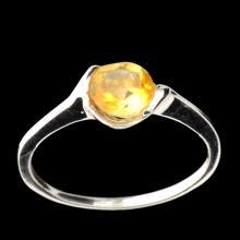 APP: 0.4k Fine Jewelry Designer Sebastian 1.50CT Round Cut Citrine Quartz and Sterling Silver Ring