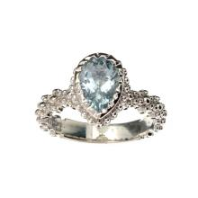 APP: 0.8k Fine Jewelry 1.50CT Pear Cut Aquamarine And Platinum Over Sterling Silver Ring