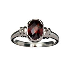 APP: 1k Fine Jewelry 1.75CT Oval Cut Almandite And Platinum Over Sterling Silver Ring