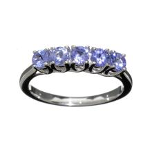 APP: 1k Fine Jewelry 0.60CT Round Cut Violet Blue Tanzanite And Platinum Over Sterling Silver Ring