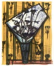 Bernard Buffet Lithograph ''''Fleurs'''' 18 x 24 Paper Image