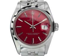*Rolex Oyster Perpetual Date 1500 Red Stainless Steel Swiss Watch