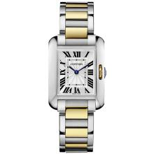 *Cartier Women's Tank Anglaise Stainless Steel Case, Stainless Steel Bracelet, Silver Dial, Quartz Movement, Scratch-Resistant Mineral, Water Resistant (DM W5310046)
