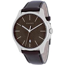 *Gucci Women's G-Timeless Stainless Steel Case, Leather Strap, Brown Dial, Quartz Movement, Scratch-Resistant Sapphire, Water Resistant (DM YA126318)