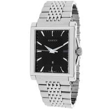 *Gucci Men's G-Timeless Stainless Steel Case, Stainless Steel Bracelet, Black Dial, Quartz Movement, Scratch Resistant Mineral, Water Resistant (DM YA138401)