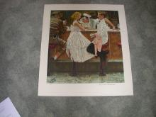 Authentic Norman Rockwell After the Prom Lithograph With Publishers Cert Size 24X27