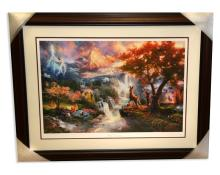 Rare Thomas Kinkade Original Limited Edition Numbered Lithograph Plate Signed Museum Framed ''Bambi's First Year''