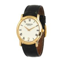 *Vintage Swiss Raymond Weil Geneve 18kt Gold Plated White Face Watch, 33 x 36 x 6: 8 in. Bands