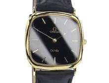 *Vintage Swiss Omega De Ville Black Dial Gold Plated & Stainless Steel QUASRTZ watch 80's
