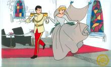 Walt Disney (After)  Serigraph, Cell, Cinderella and Prince Charming at Chappel W/ certificate Of Authenticity