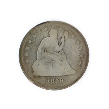 Rare 1859 Liberty Seated Quarter Dollar Coin