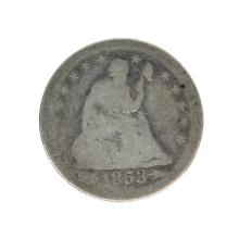 1853 Liberty Seated Arrows At Date, Rays Around Eagle Quarter Dollar Coin