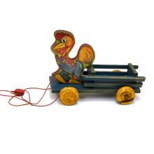 Rooster On Cart With Wheels