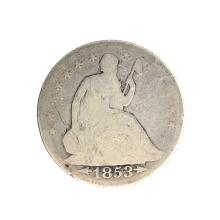 1853 Liberty Seated Arrows At Date, Rays Around Eagle Half Dollar Coin