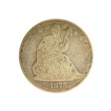 1875 Liberty Seated Half Dollar Coin