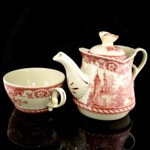 7 Inch Red Tea Set For One