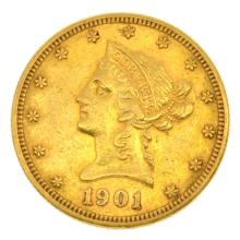 *1901 $10 U.S. Liberty Head Gold Coin (DF)