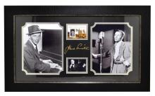Very Rare Plate Signed Photo Of Frank Sinatra With Authenic Original Swatch Of Clothing
