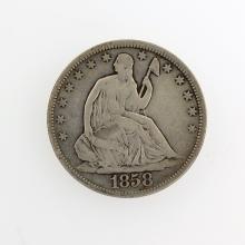 1858 Liberty Seated Half Dolla Coin