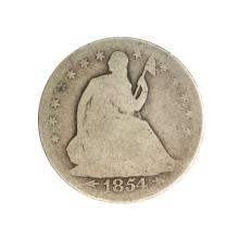 1854 Liberty Seated Arrows At Date Half Dollar Coin