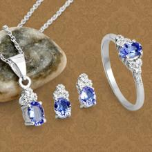 APP: 1.7k Fine Jewelry 1.66CT Tanzanite And White Topaz Sterling Silver Ring, Pendant w/ Chain & Earrings Set