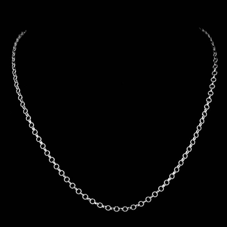 *Fine Jewelry 14KT White Gold, 5.0GR, 18'' Twisted Round And Shiny Link Chain (GL 5-14.)