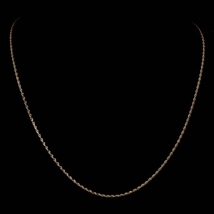 *Fine Jewelry 14KT Gold, 3.7GR, 18'' Diamond Cut Rope Chain (GL 3.7-1)