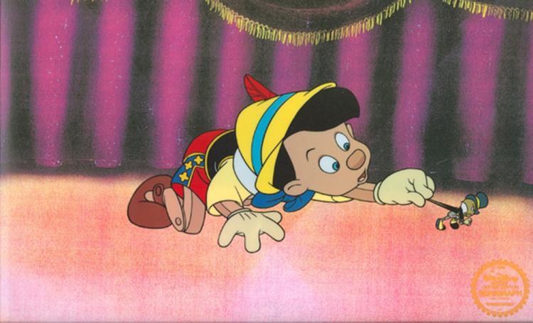 Walt Disney (After) Serigraph, Cel, Pinocchio W/ Certificate Of Authenticity