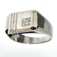 APP: 1.1k 0.05CT Round Cut Diamond and Platinum Over Sterling Silver Ring